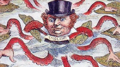 Cartoonist from 1888 depicting John Bull (England) as the octopus of imperialism, grabbing land on every continent. Public Domain.