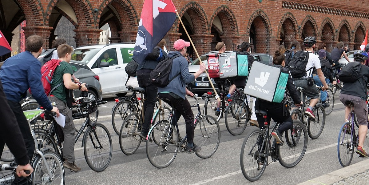 Black Friday demonstration against Deliveroo in Berlin in 2018. Photo by Leonhard Lenz