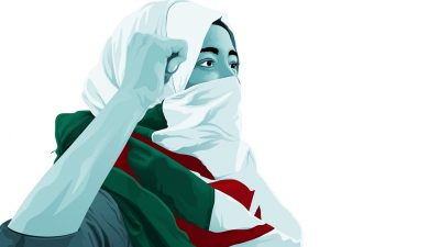 Illustration of Algerian protestor by Intifada Street