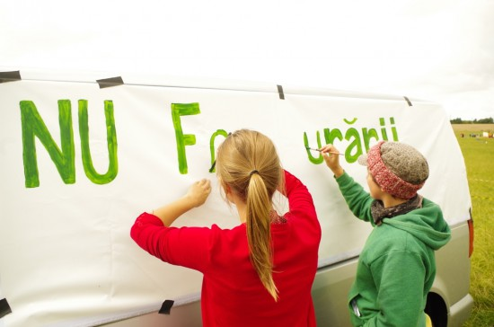 Banner in solidarity with anti-fracking struggle in Romania-2