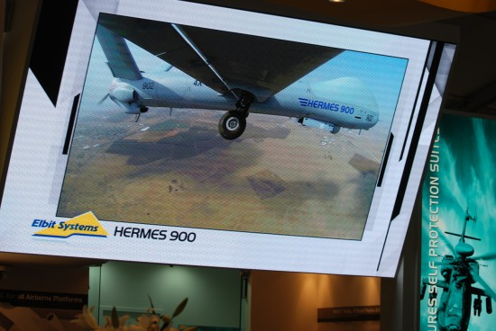 Israeli drone company Elbit Systems' stall at the Farnborough International Airshow