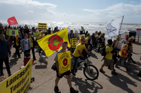 Anti fracking protesters demonstrate peacefully on a march